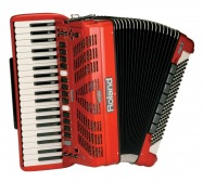 a red accordion or is it accordian?